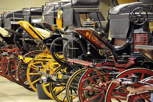 part of one of the rows of carriages in the Hacienda Maria collection