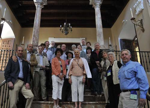 the trip participants in the impressive staircase in the old monastery that now houses the water company