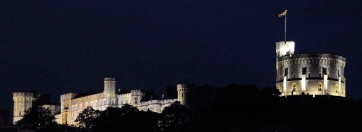 Windsor Castle at night, from the Eton side of the river