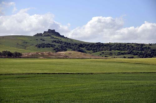 an old fort on a hill, and farmland, near the Domecq property