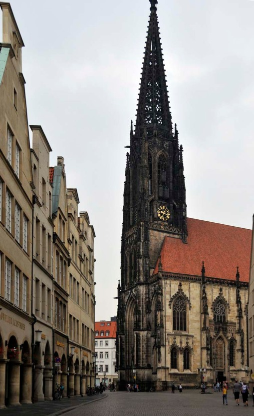 the elaborately gothic St. Lamberti church in the center of Münster's old town