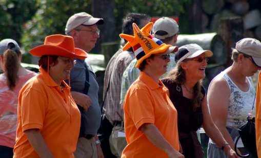 a couple of goofy Dutch hats ... bright orange, of course (photo by A.J.)