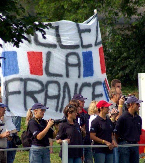 some French fans carried this flag around all day (photo by A.J.)