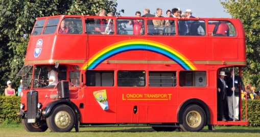 the double-decker party bus
